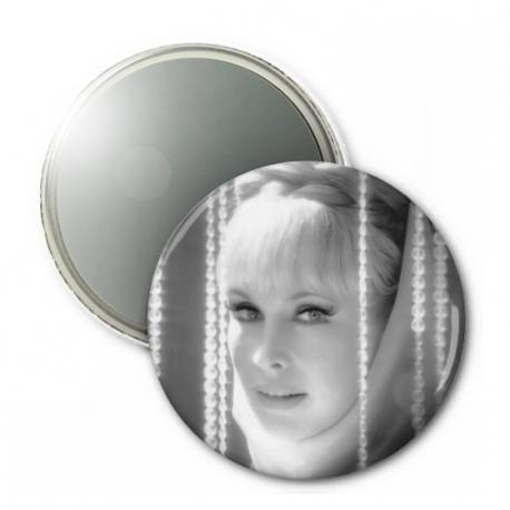 Barbara Eden Button Mirror - CLASSIC B&W